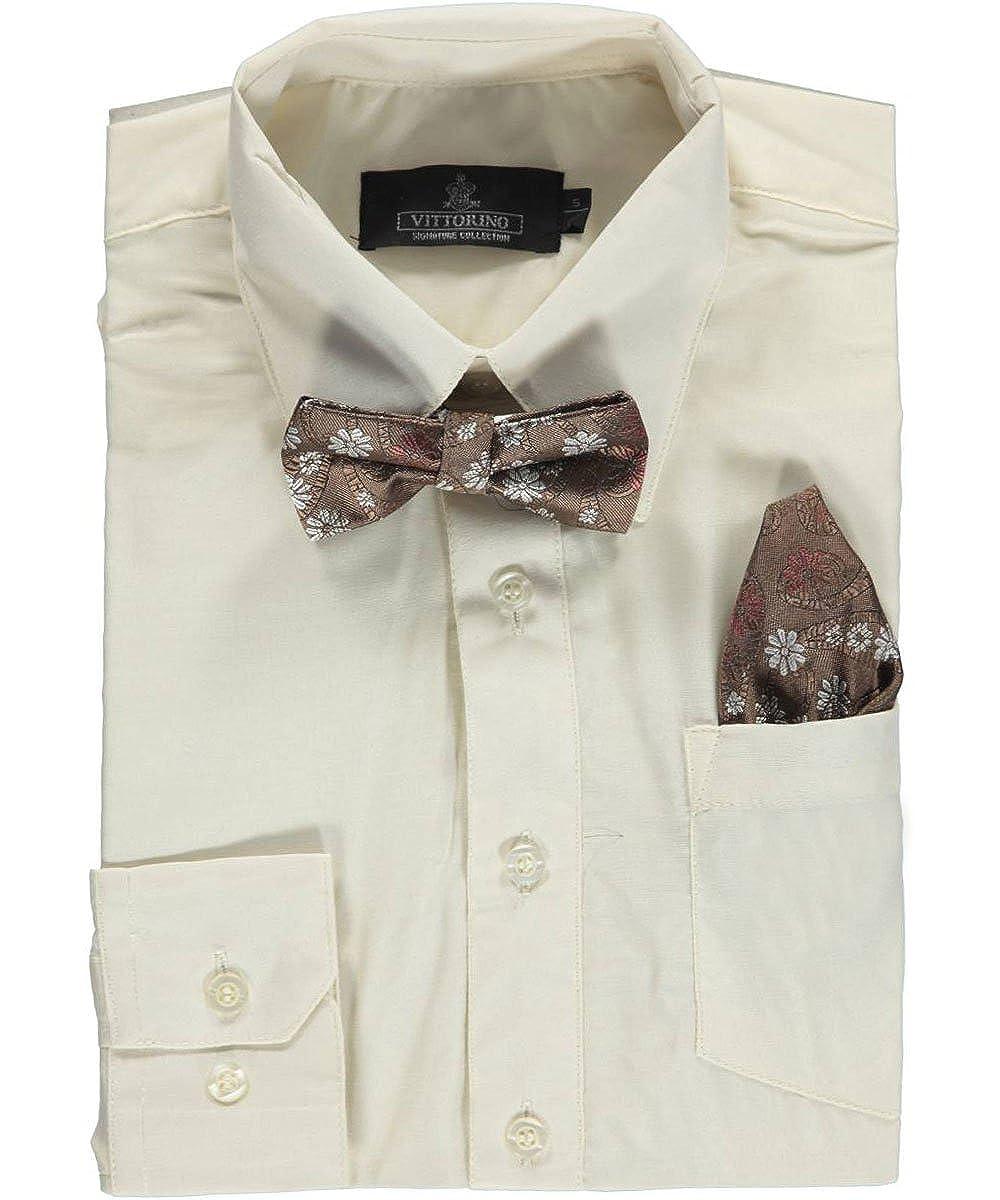 Vittorino Big Boys' Dress Shirt with Bowtie & Matching Pocket Square 8
