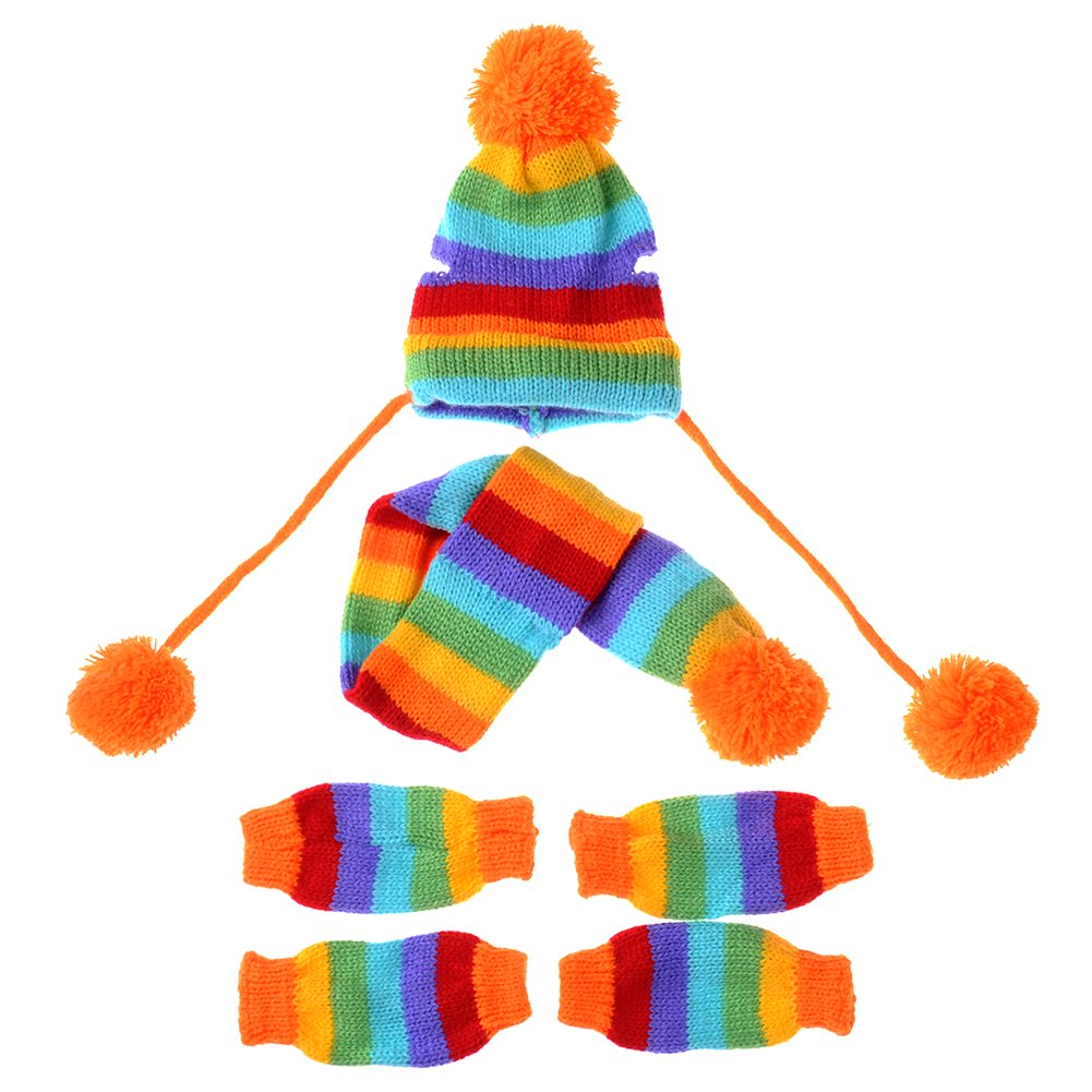 JJ Store Puppy Pet Dog Cat Winter Striped Hat Knitted Cap Socks Scarf Leg Warmers Rainbow Pink