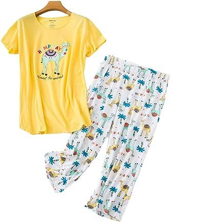 Chongmu - Conjunto de Pijamas para Mujer, 2 Piezas, Tallas Grandes, de algodón, Pijamas con Pantalones