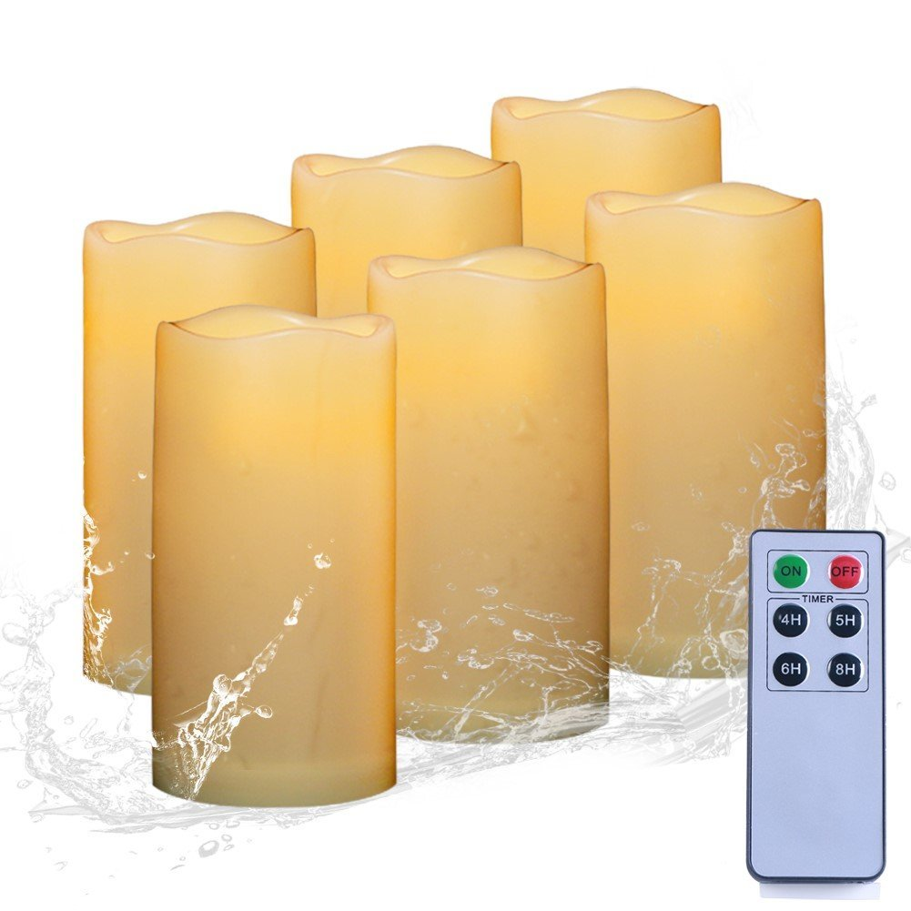AMAGIC Set of 6 Outdoor Flameless Candle Bulk Include 6-Key Remote and Timer, Waterproof Led Pillar Candles, Battery Resin Candles - Home, Wedding & Parties Decro