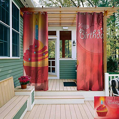 leinuoyi 16th Birthday, Outdoor Curtain Pair, Little Cupcake with Candlestick Greeting Message Romantic Print, for Patio W84 x L108 Inch Red Orange and Blue
