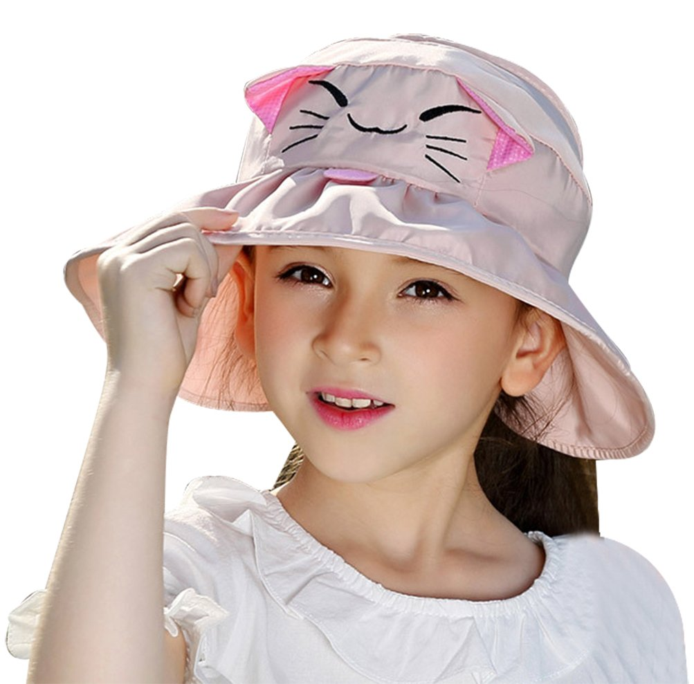 Bienvenu Kids Girls Wide Brim Visor Sun Hat - UV Protection Foldable Beach Cap, Pink