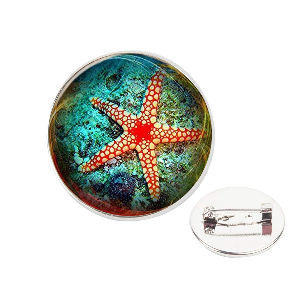 Pinback Buttons Badges Pins Beige Red Starfish Lapel Pin Brooch Clip Trendy Accessory Jacket T-Shirt Bag Hat Shoe