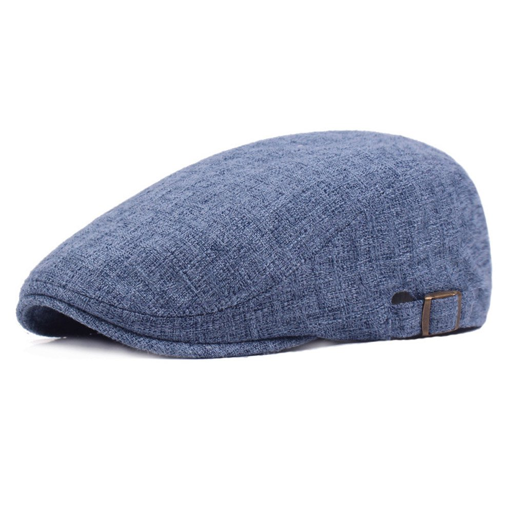 Men Linen Cotton Golf Driving Beret Cabbie Hat Newsboy Flat Ivy Sun Summer Cap (Blue)