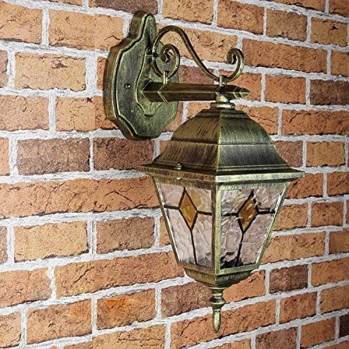 Lampada da parete classica in alluminio oro antico vetro Tiffany stile E27 illuminazione esterna Balcone Casa Giardino