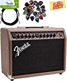Fender Acoustasonic 40 Acoustic Guitar Amplifier - Brown and Wheat Bundle with Instrument Cable, Pick Sampler, and Austin Bazaar Polishing Cloth