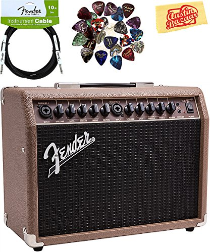 Fender Acoustasonic 40 Acoustic Guitar Amplifier - Brown and Wheat Bundle with Instrument Cable, Pick Sampler, and Austin Bazaar Polishing Cloth by Fender
