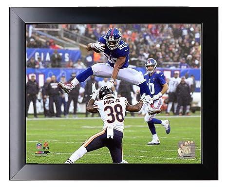 the best attitude f3270 35e4f Amazon.com: Framed New York Giants Saquon Barkley Jumps over ...