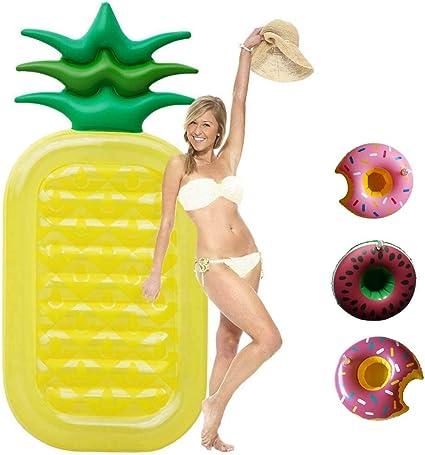 Amazon.com: syitcun hinchable piña piscina flotante balsa ...