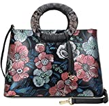 Pijushi Floral Handbags and Purses Designer Leather Tote Handbag for Women Top Handle 6016 (One Size, Peony Floral)