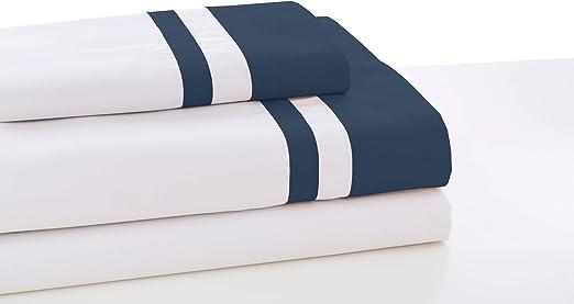 ESTELIA - Juego de sábanas Marbella Color Blanco-Zinc - Cama de 160 (4 Piezas) -100% algodón - 300 Hilos: Amazon.es: Hogar