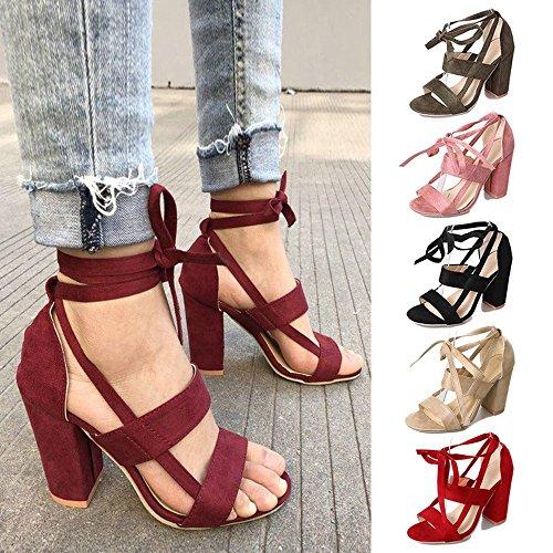 huateng Zapatos de Mujer Sandalias de Gamuza Vendaje Grueso con Zapatos de Tacón Alto Zapatos de Punta Abierta (Negro) Rojo