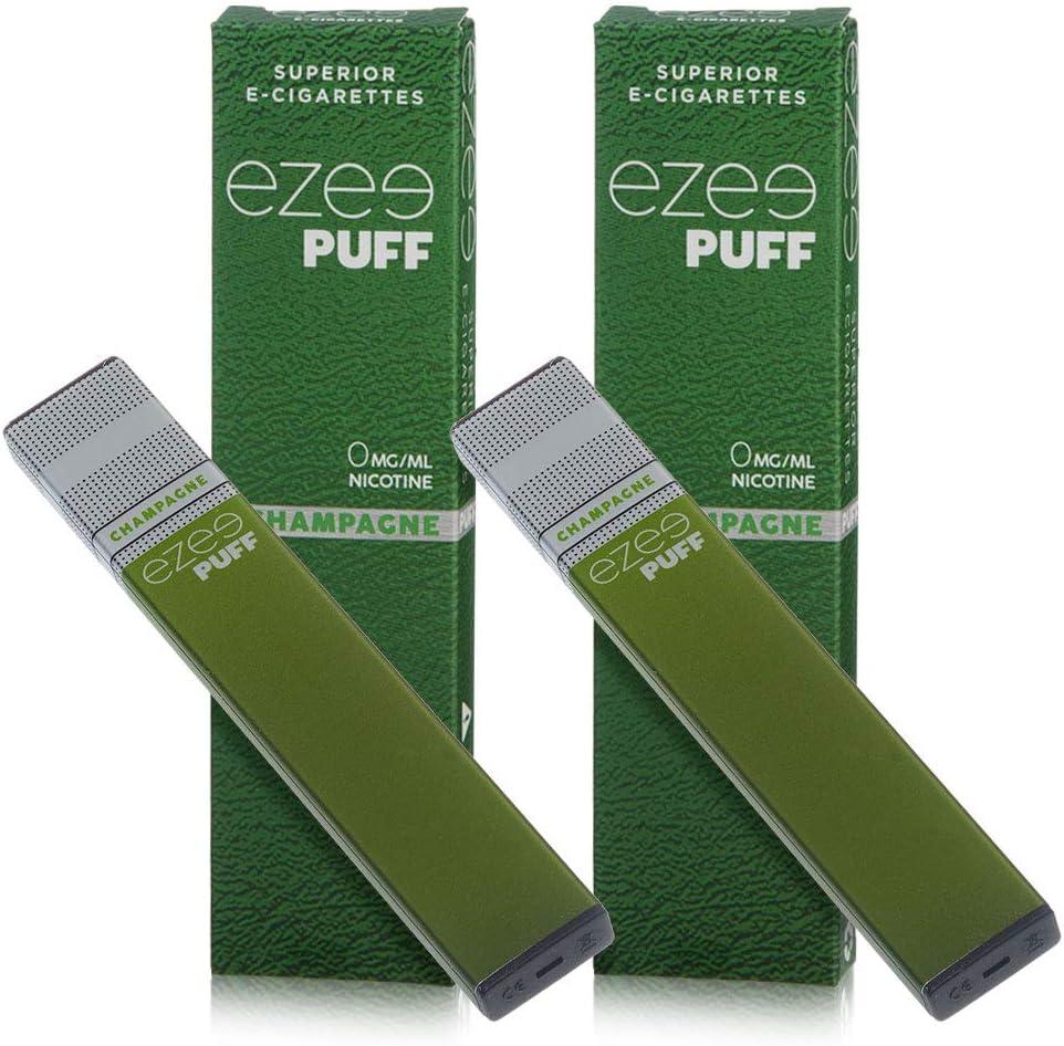 Ezee Puff Cigarrillo Electrónico Desechable sabor a Champagne e-liquido Sin Nicotina y sin Tabaco E-Cigarrillo para vapear 280 mAh Batería Paquete de 2