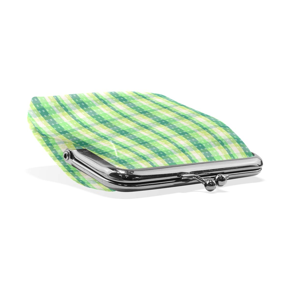 Exquisite Buckle Coin Purses Green Plaid Vector Mini Wallet Key Card Holder Purse for Women