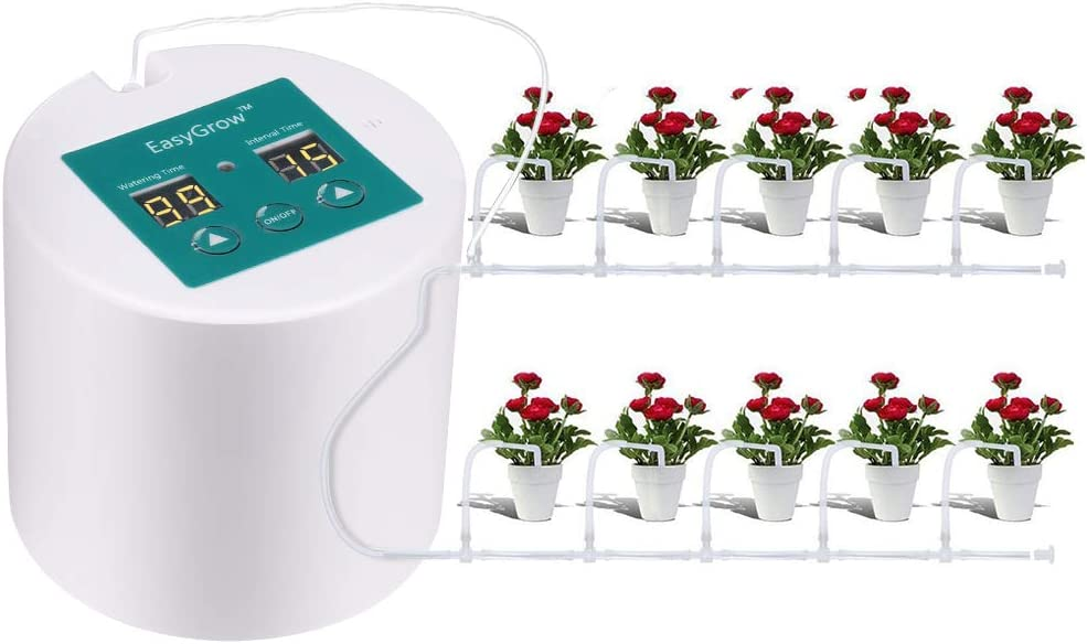 Wisfor Watering System Indoor Irrigation Plant Self Water Drip System for 10 Potted Plants Automatic Drip Watering System with 10M Tube