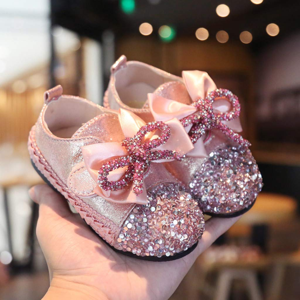 Toddler Infant Kids Baby Girls Crystal Bling Bowknot Princess Shoes Loafers