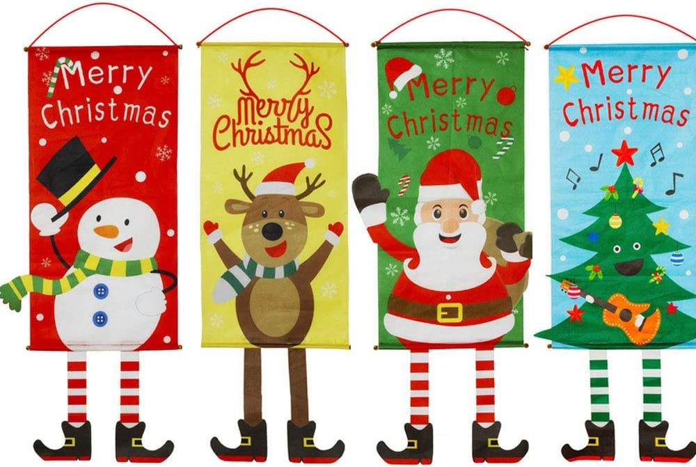 Christmas Hanging Cloth Flag with Hooks - 4 Pack, Door Ornaments Banners Window Decorations for Christmas Ornament Home Wall Door Decor