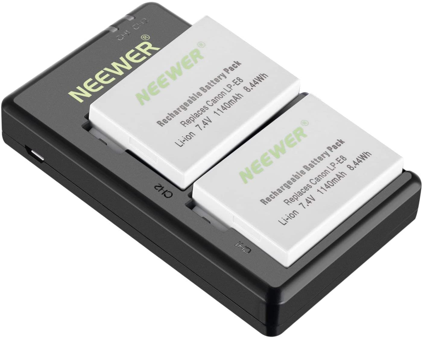 Neewer Reemplazo LP-E8 Batería Recargable de Carga Set para Canon (2-Pack 1140mAh Baterías de Cámara y Cargador de Doble Entrada USB Micro, 100% Compatible con Protección de Seguridad Original)