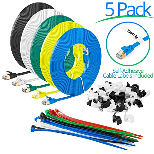 Maximm Cat7 Flat Ethernet Patch Cable - 20 Feet Cord - Multi-Color - 5 Pack - Internet RJ45 Gigabit Cat7 Lan Cable With Snagless Connectors For Fast Network & Computer Networking + Cable Ties