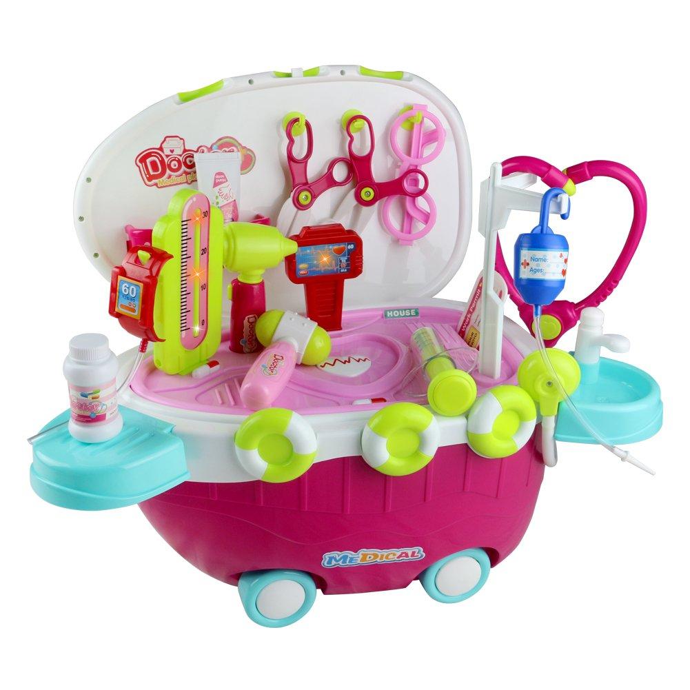 Juguete Doctor Juego de Doctor de Médico Portátil Multifuncional Carro de Juguete para Niñas Niños JIACHENG TOYS 660-47