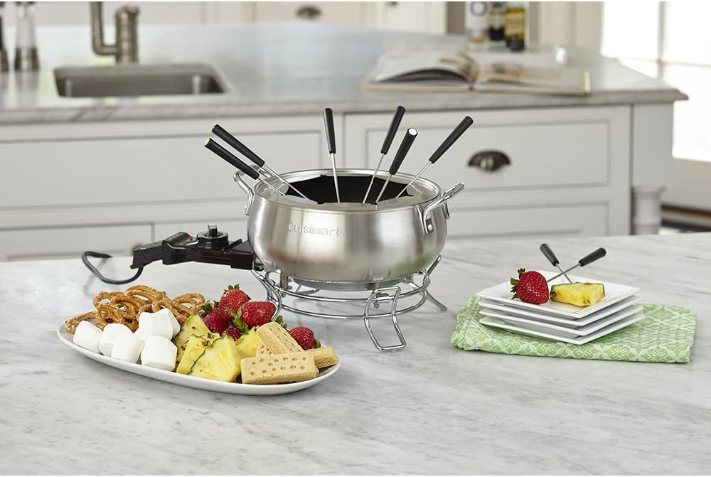 """Cuisinart CFO-3SS Electric Fondue Maker, Brushed Stainless, 6.12"""" x 10.50"""" x 7.00"""": Kitchen & Dining"""