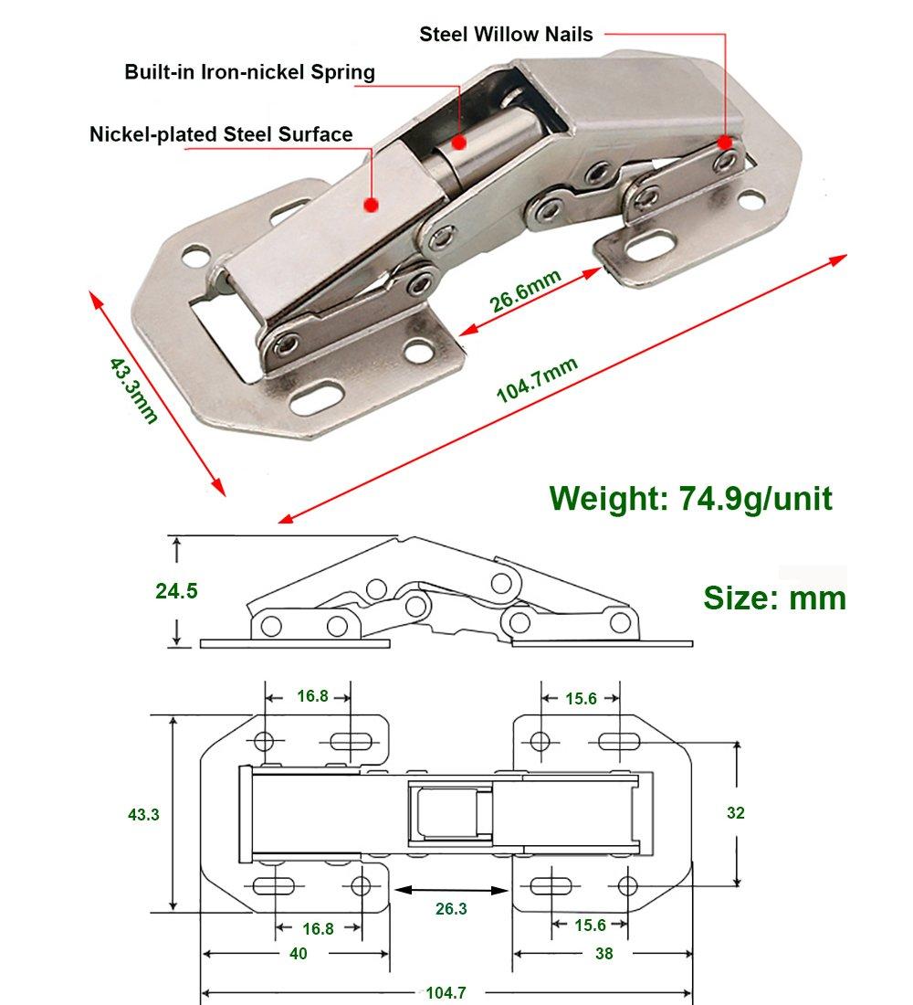 Qrity 2 X Aufschraubscharnier mit Feder Öffnungswinkel 90° Küche ...