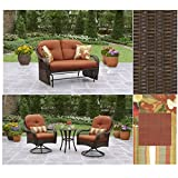 Better Home & Garden Two-Seater Glider with Cushions & 2 Pack Pillows and 3-Piece Bistro Set, Azalea...