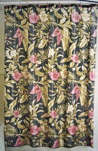 Interiors Design Burgundy Red Hibiscus And Bird Of Paradise Floral Fabric Shower Curtain With 12 Hooks Amazoncouk