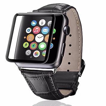 dorara iWatch correa de piel auténtica bandas iPhone reloj inteligente banda pulsera pulsera de repuesto con adaptador de acero inoxidable cierre para Apple ...