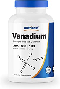 Nutricost Vanadium + Chromium 2mg 180 Veggie Capsules - Gluten Free, Non-GMO - Vanadium Supplement