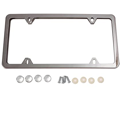 Amazon.com: Stainless Steel 4 Holes Silver License Plate Frame Cute ...