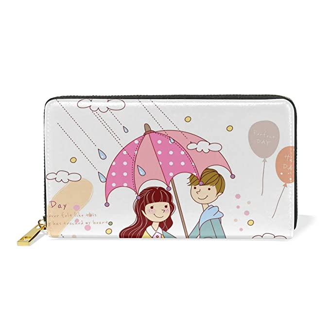 Amazon.com: Lovers Hold Umbrella Rain - Monedero de piel ...
