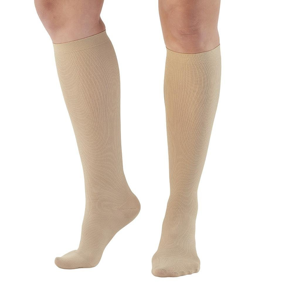 Ames Walker AW Style 167 Women's Travel 15-20mmHg Moderate Compression Knee Compression Socks Tan Large - Relieves tired aching swollen legs symptoms of varicose veins - Fashionable rib knit