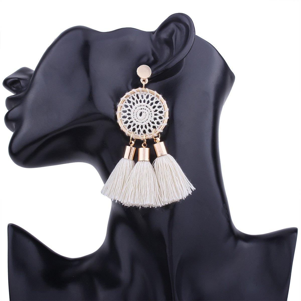 Tassel Earrings White Long Bohemian Geometric Dangle Earrings for Women by FEDNON (Image #4)