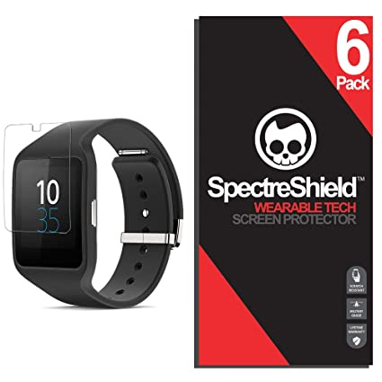 Spectre Shield (6 Pack) Screen Protector for Sony SmartWatch 3 Accessory Sony SmartWatch 3 Case Friendly Full Coverage Clear Film