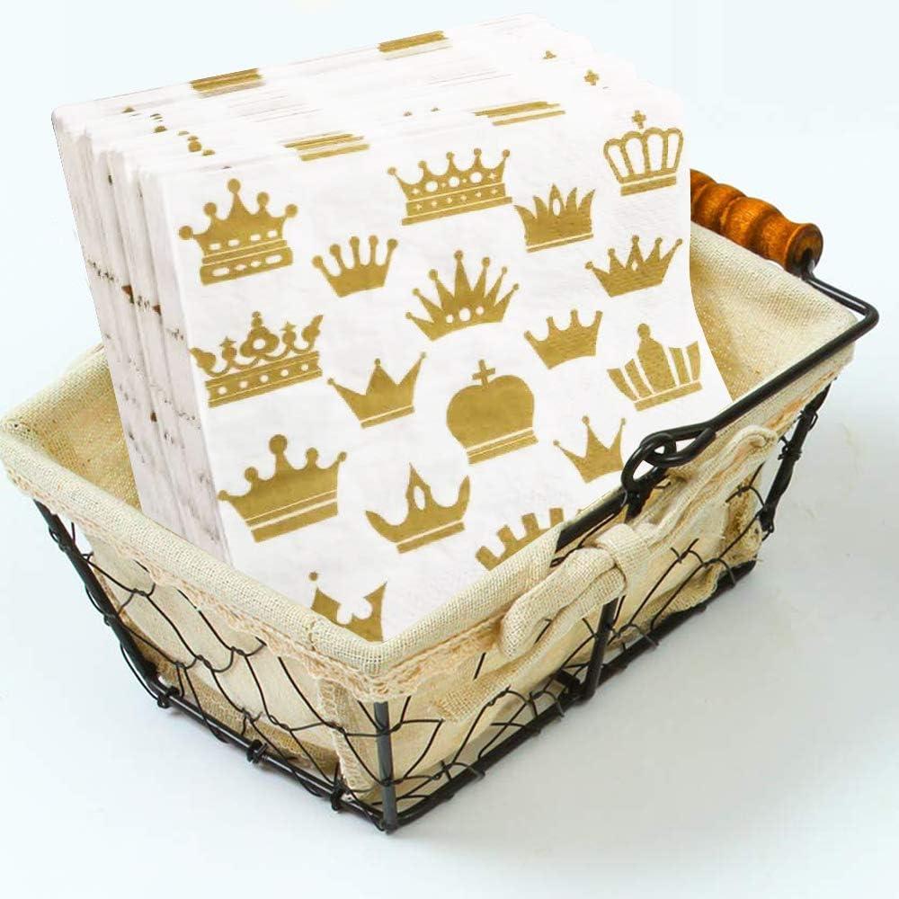 AooQie Lot de 200 Serviettes de Table Gold Crown