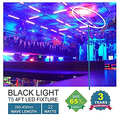 Barrina UV LED BlackLight bar 22w 4ft T5 Integrated Bulb Black Light Fixture For Blacklight Poster and Party Fun Atmosphere with Built-in ON/OFF Switch