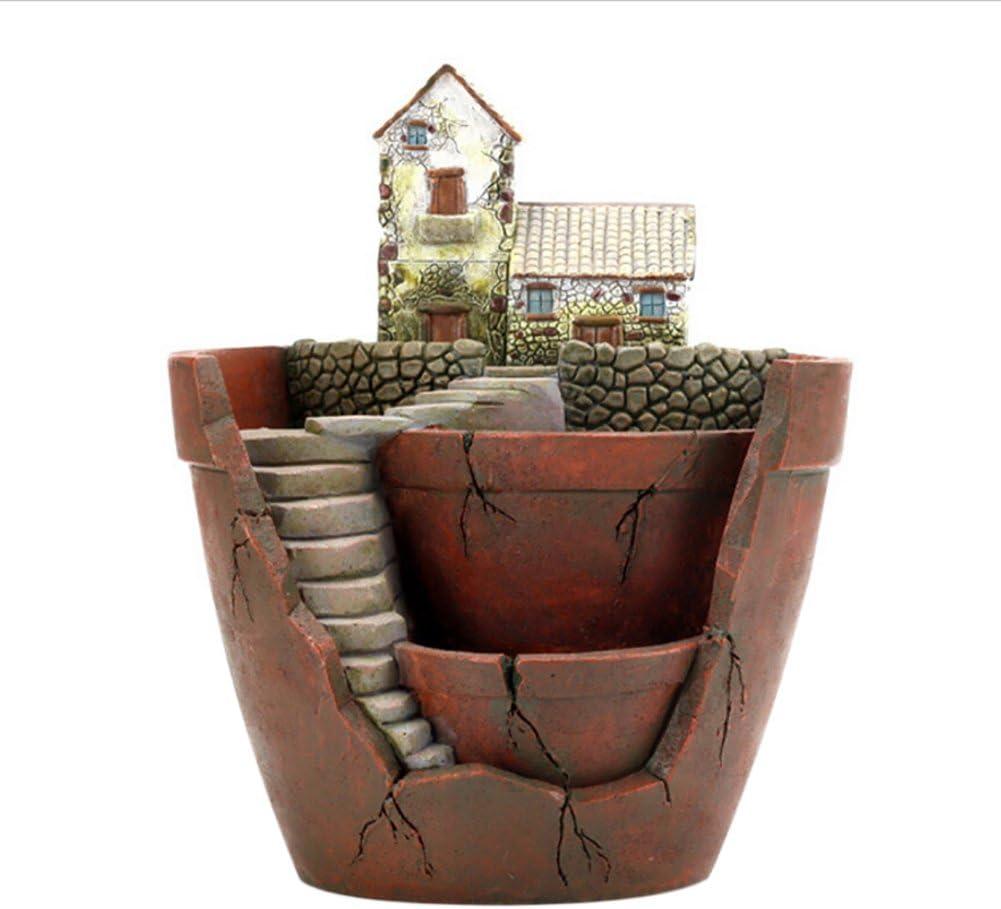 Forart Fairy Garden Pot, Planter Flower Plant Pots Flowerpot Combination Resin Succulent Plant Pot (City of Sky)