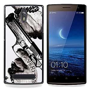 Eason Shop / Premium SLIM PC / Aliminium Casa Carcasa Funda Case Bandera Cover - Veritas Pistola Verdad Slogan Cita Hombre Manos - For OPPO Find 7 X9077 X9007