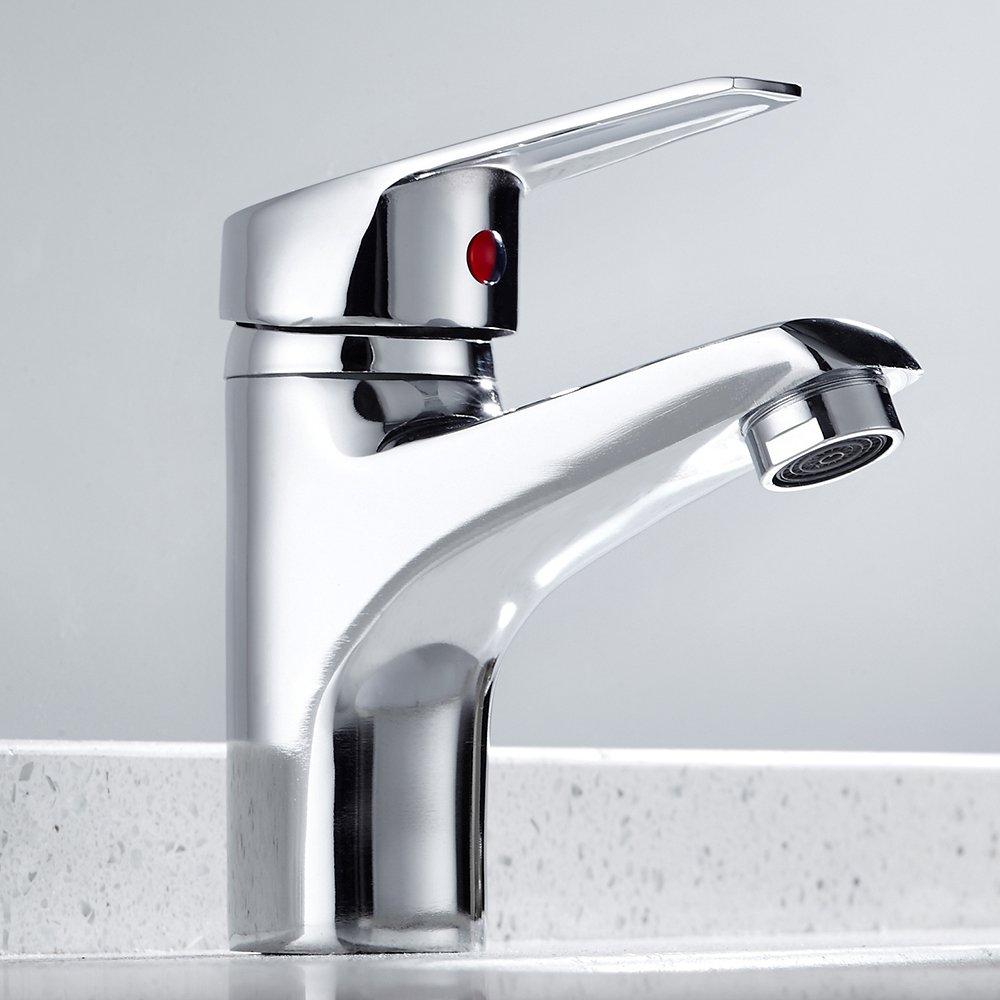 Modern Bathroom Taps Basin Mono Sink Mixer Tap Single Lever Brass Chrome Hot /& Cold Faucet