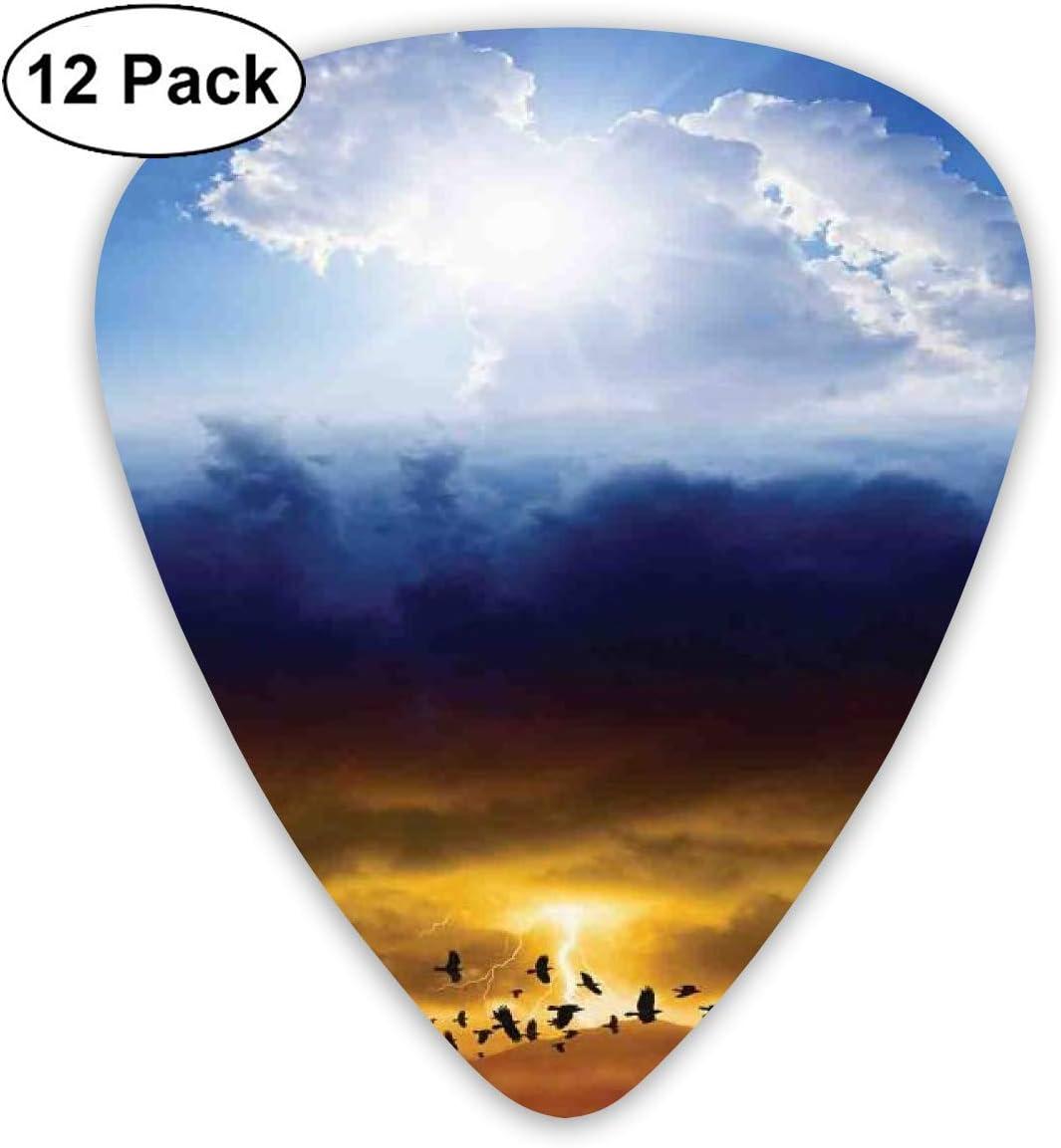 Púas de guitarra Sol y cielo tormentoso oscuro con Trueno Cielo e infierno Arte bueno y malo, para guitarras eléctricas acústicas bajas-12 Pack