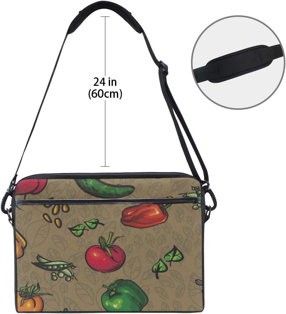 Briefcase Messenger Shoulder Bag for Men Women Laptop Bag Texture Vegetables Leaves Texture Peppers 15-15.4 Inch Laptop Case College Students Busin