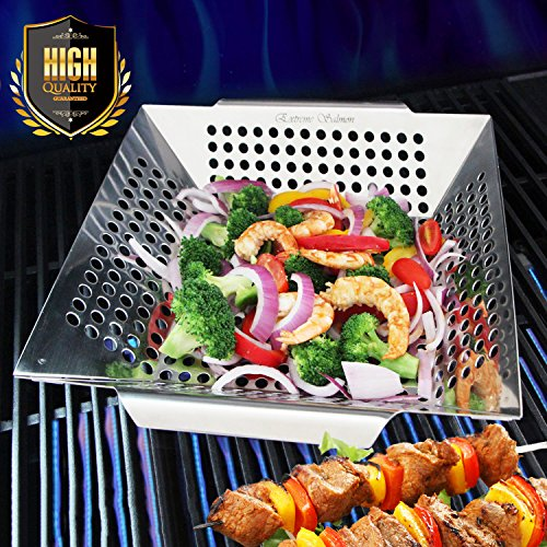 Grill Basket, Food Grade Stainless Steel Veggie Barbecue Grilling Wok Pan Accessories for Shrimp Potatoes Zucchini Onions Peppers Mushrooms on Gas or Charcoal Grills