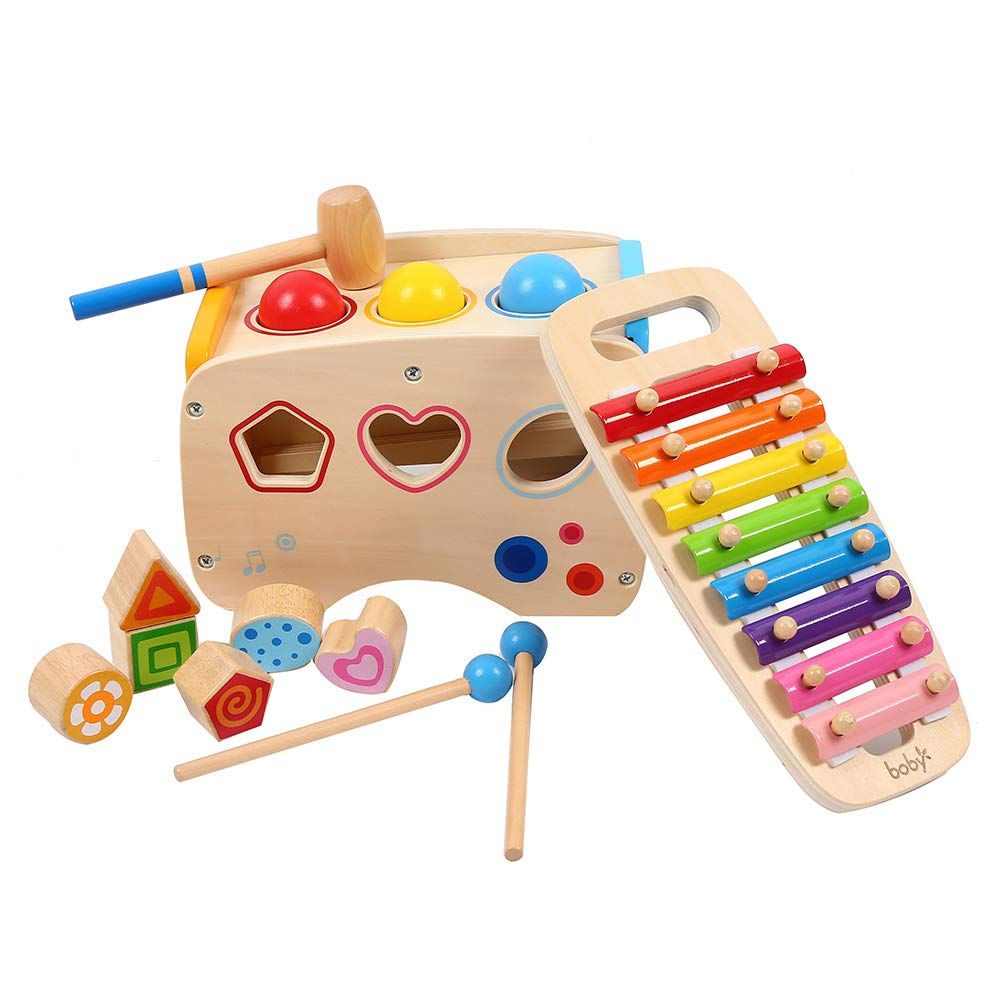 3 in 1 Pounding Bench Xylophone and Shape Toys - Matching Blocks multifunctionla Early Educational Set Best for Age 1 2 3 Years Old and Up Kid Children Baby Toddler Boy Girl