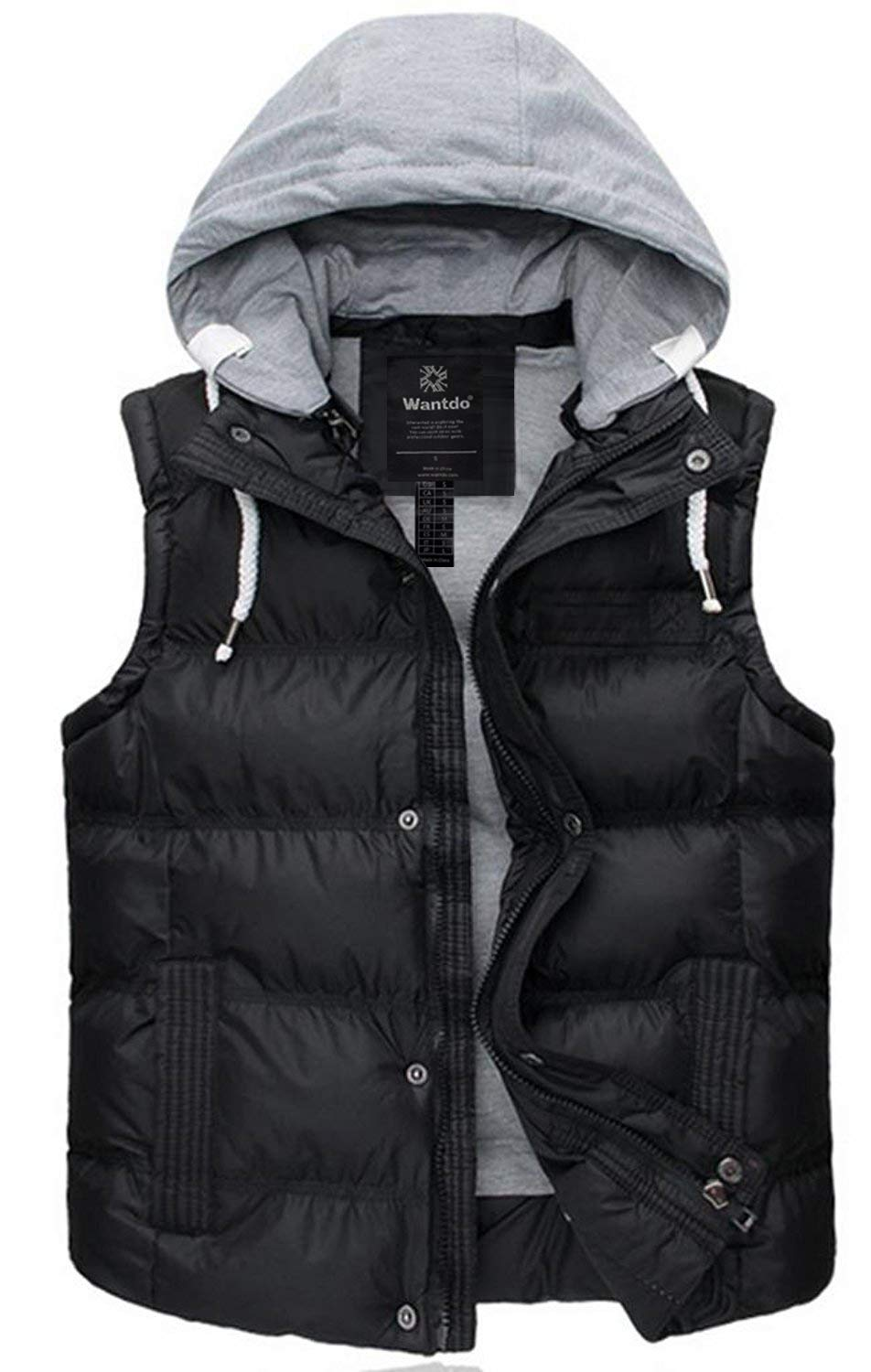 Wantdo Women's Quilted Puffer Vest Outwear with Removable Hood X-Large Black by Wantdo