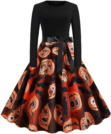 CLOOM Halloween Vintage Falda Plisada Moda Calabaza y Fantasma ...