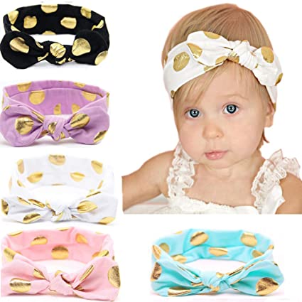 Hair Accessories Girls Newborn Baby Toddler Bow Headband Hair Band Accessories Headwear 5pcs