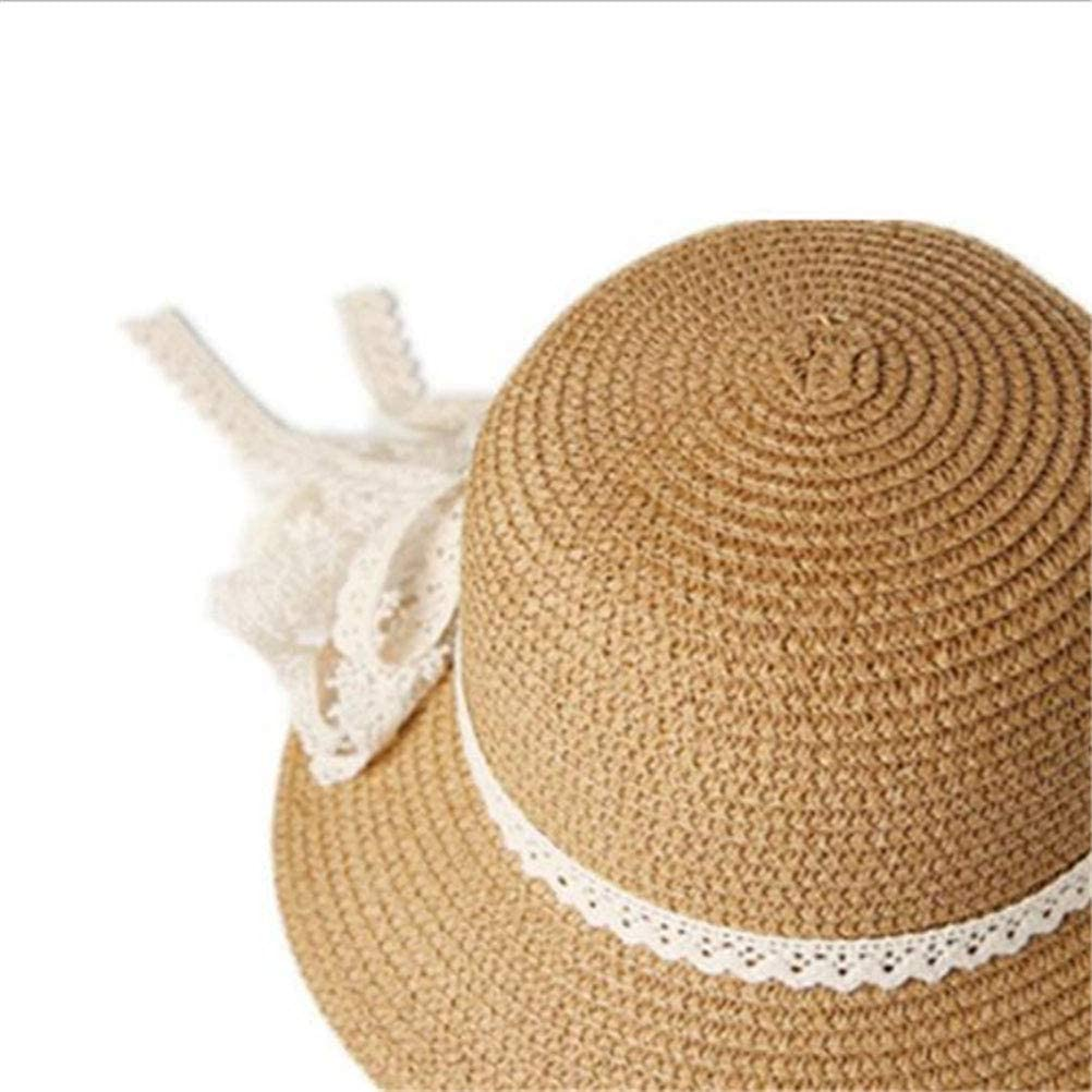 FENICAL Little Girls Kids Straw Brim Sun Protection Hat Beach hat Summer Hats Cap with Pearl and Bowknot Khaki