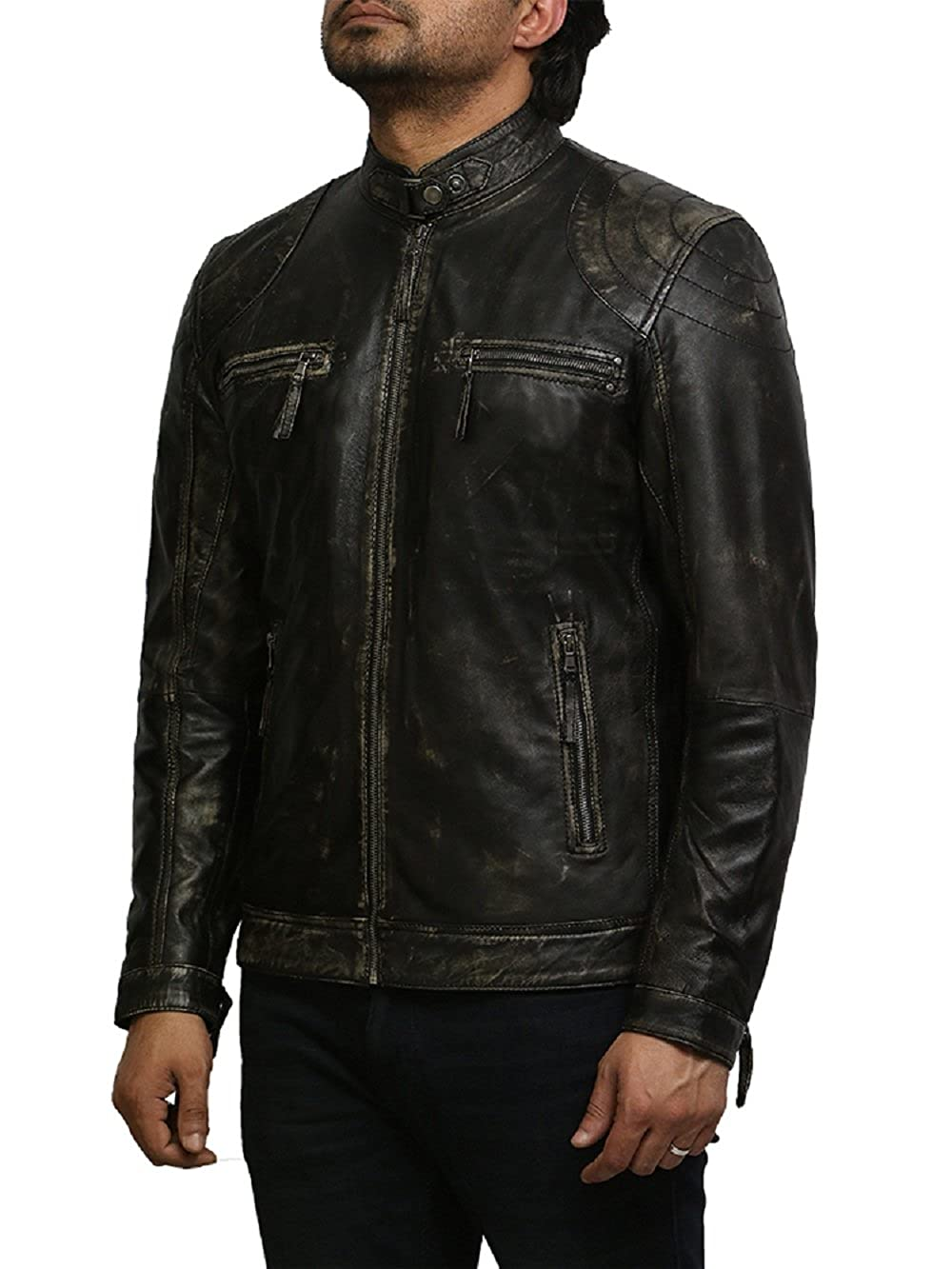 Brandslock Mens Leather Biker Jacket Genuine Lambskin
