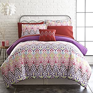 Tribal Ikat Collection| 8-Piece Reversible Comforter Set, Ultra-Soft Complete Bedding Set by Amrapur Overseas